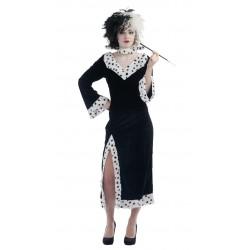 Déguisement de Cruella Femme Blanc & Noir Femme - Costume Dessin Animé Cruella The Duck