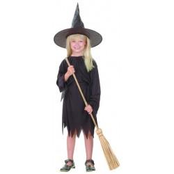 Ce déguisement de sorcière pour fille est de couleur noir et comprend une robe, un chapeau et une ceinture (chaussures et balai non inclus).