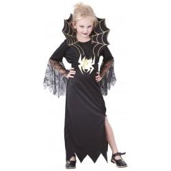 Ce déguisement de veuve noire pour fille comprend une robe, une ceinture et un col (chaussures non inclus).