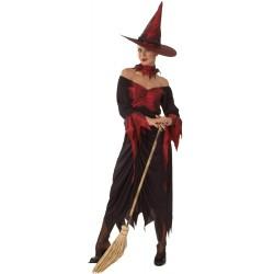 Déguisement de Sorcière Rouge & Noire Femme - Costume sorcière halloween the duck