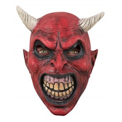 Masque de Diable Rouge Latex Adulte - Déguisement diable halloween the duck