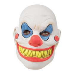 Masque de Clown Cruel Intégral en Latex Blanc Adulte