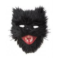 Masque de Chat Diabolique Noir Peluche Noir - Déguisement animaux halloween the duck