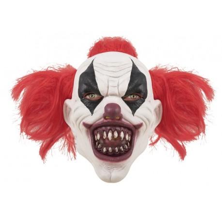 Masque de clown diabolique cheveux rouge adulte - Masque qui fait peur a imprimer ...