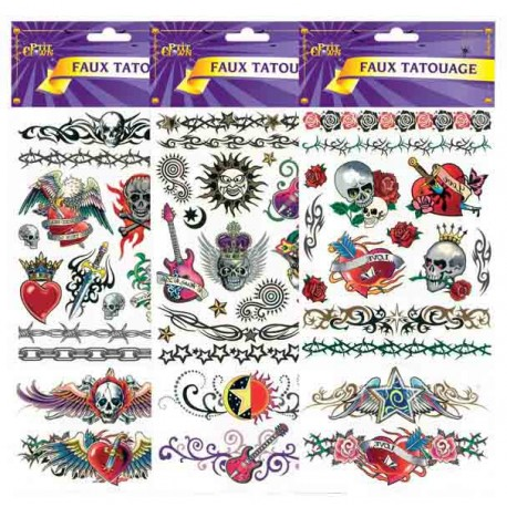 Planches de Faux Tatouages Rock N Roll - Maquillage Rock n roll halloween the duck