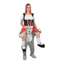 Déguisement de Petit Chaperon Rouge assis sur un loup Carry Me Adulte