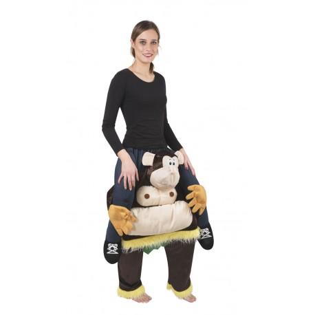 Déguisement de singe assis dessus Carry Me Adulte - Costume singe carnaval carry me the duck