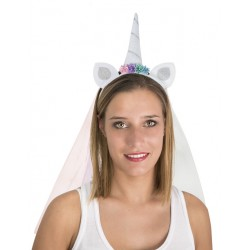 Serre-tête de Licorne Blanc Adulte avec voilette