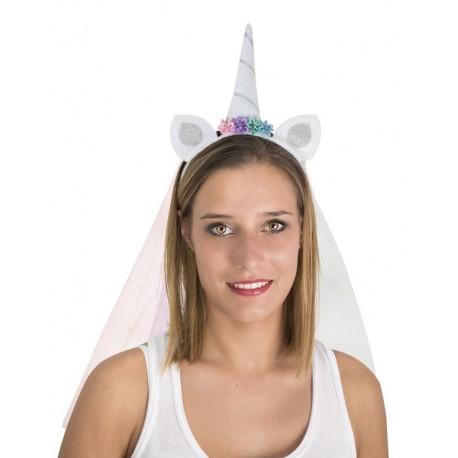 Serre-tête de Licorne Blanc Adulte avec voilette - déguisement licorne carnaval the duck