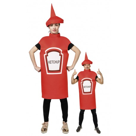 Costume de Pot de Ketchup Rouge Adulte - Déguisement humoristique carnaval the duck