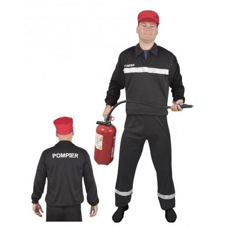 Costume de Pompier Noir Adulte - Déguisement pompier carnaval the duck