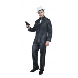 Costume de Gangster Noir à Rayures Blanches Adulte - Déguisement gangster carnaval the duck