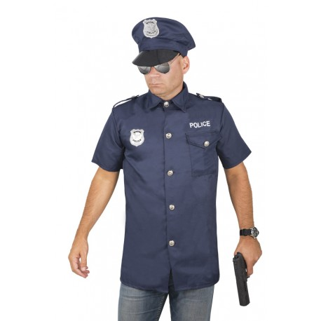 Costume Policier Homme Bleu - Déguisement police carnaval The Duck