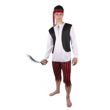 Costume Pirate Homme Rouge Noir - Déguisement Pirate Homme The Duck