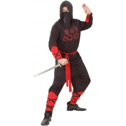Costume de Ninja Noir & Rouge Adulte - déguisement ninja adulte carnaval the duck