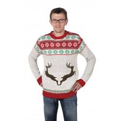 Pull de Noël à motifs de Renne Blanc, rouge et Vert Homme - déguisement de noël the duck