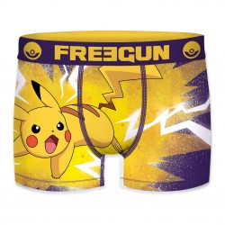 Boxer Pokemon Pikachu Jaune et Violet Homme FREEGUN - Caleçon Pokemon Garçon Habits The Duck